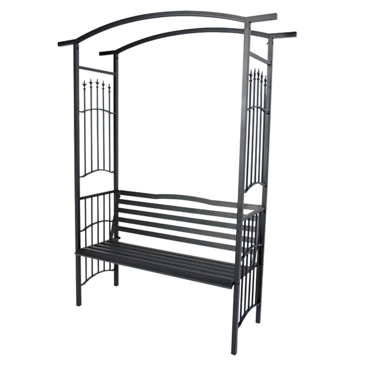 rosenbogen schwarz metall verzinkt mit bank rankhilfe torbogen garten gartenbank haus und garten. Black Bedroom Furniture Sets. Home Design Ideas