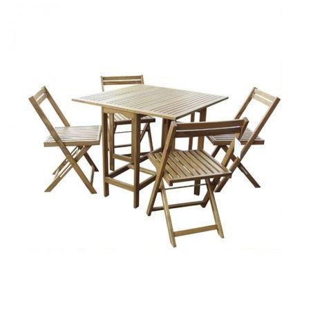 5tlg. Balkonmöbel Set klappbar Klapptisch Gartenmöbel Gartentisch Holztisch Stuhl Sitzgarnitur