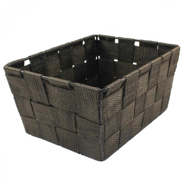 Aufbewahrungsbox 185x14x9 Uni Geflochten Schwarz Weiß Beige
