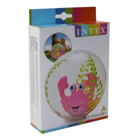 INTEX Aquarium Beach Ball KRABBE Wasserball Strandball pink blau Wasser Pool – Bild 1