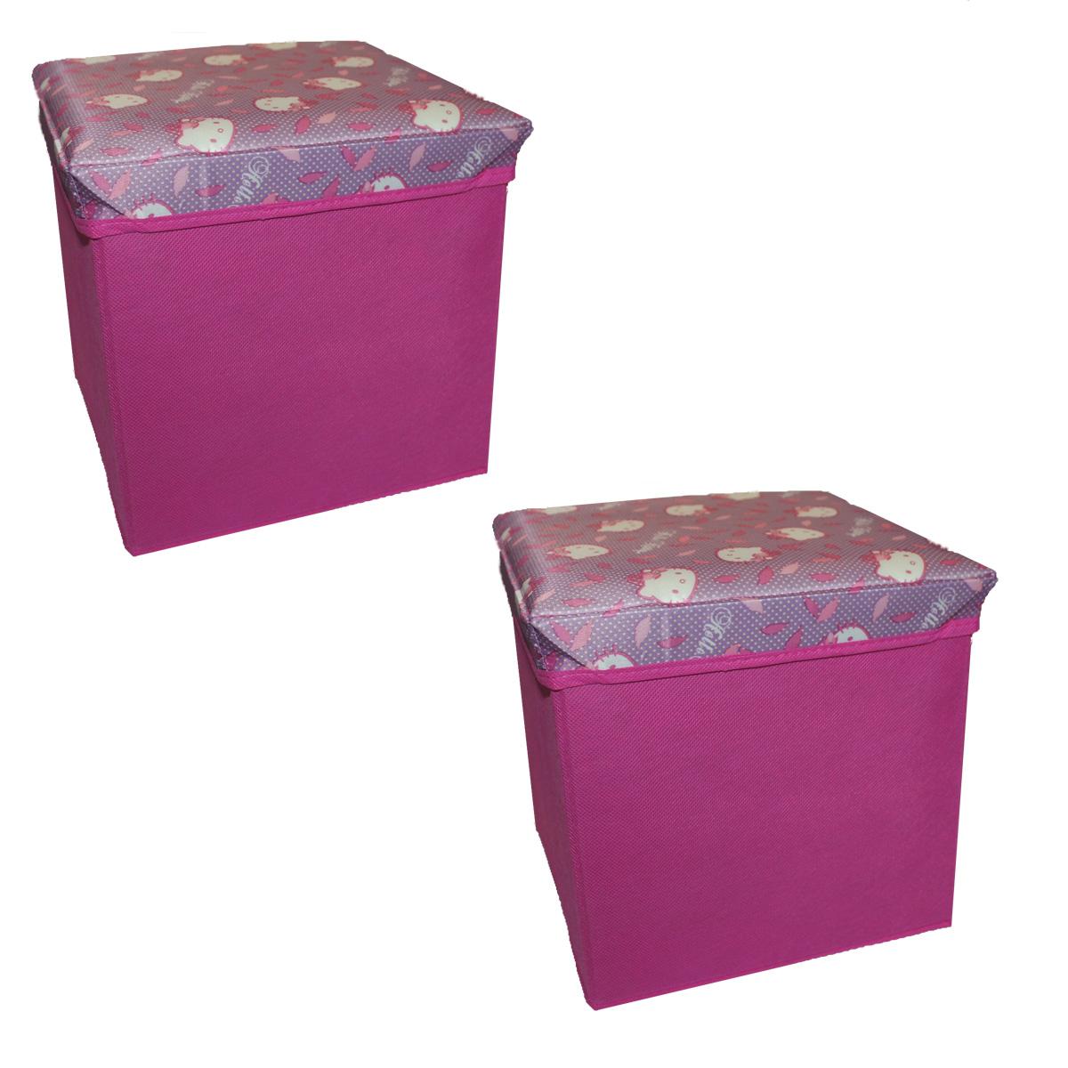 2er set hello kitty canvas spielzeugkiste aufbewahrungsbox mit deckel box truhe m bel wohnen. Black Bedroom Furniture Sets. Home Design Ideas