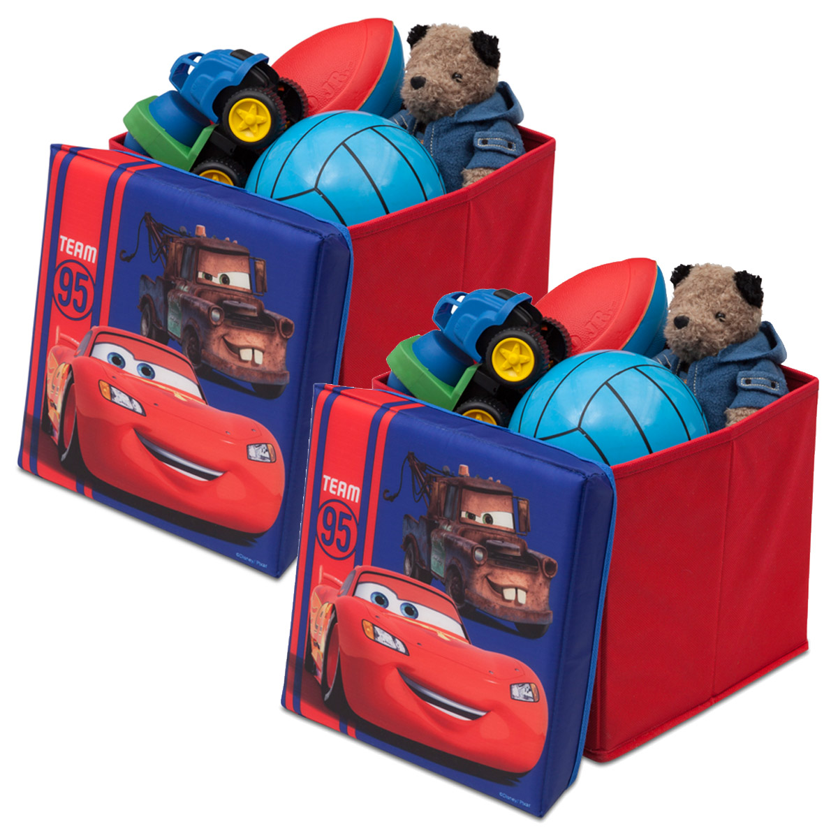 2er set disney cars canvas spielzeugkiste aufbewahrungsbox. Black Bedroom Furniture Sets. Home Design Ideas