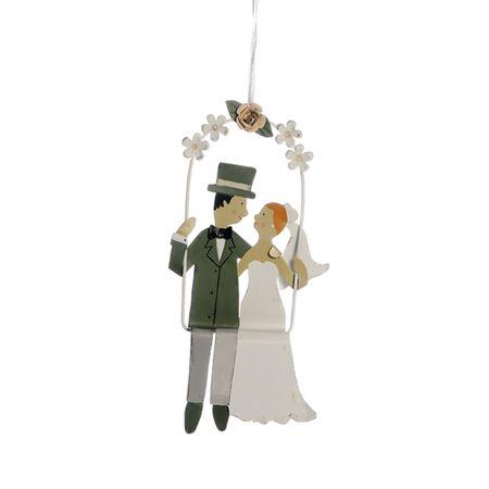 Anhänger Brautpaar auf Schaukel Metall 17cm Hochzeit Wedding Geschenk Bride