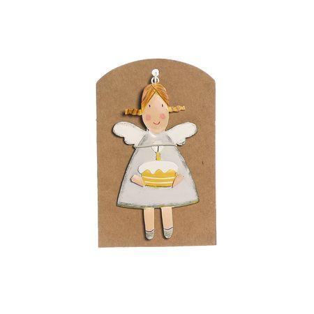 ENGEL mit Torte Geschenk Metall 9cm Geburtstag Hochzeit Feier Freunde Familie – Bild 1