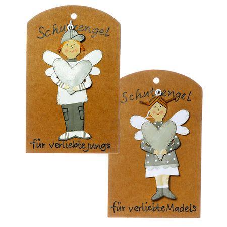 Schutzengel für verliebte JUNGS MÄDCHEN Paar Geschenk Begleiter Metall Aufhänger – Bild 1