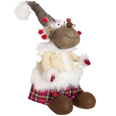 Elch Weihnachten Deko Stofftier sitzend Junge Mädchen Advent Figur Türstopper  – Bild 3
