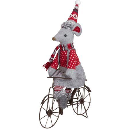 Maus auf Fahrrad grauer Rock rote Latzhose Deko Mann Frau Weihnachten Advent – Bild 3