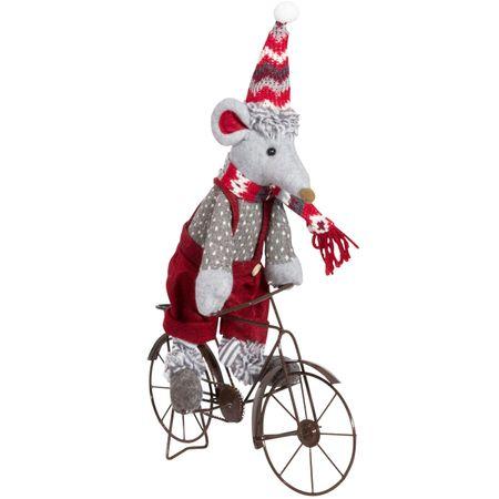 Maus auf Fahrrad grauer Rock oder rote Latzhose Weihnachtsdeko Weihnachten   – Bild 2