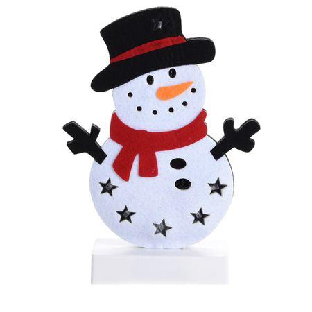 Weihnachtsfigur Aufsteller LED 25cm Filz Winter Beleuchtung Weihnachten Schnee – Bild 3