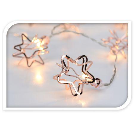 Lichterkette 10 LED STERN silber kupfer Beleuchtung Weihnachten Winter warm weiß – Bild 3