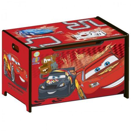 Disney Cars Toy Box Spielzeugkiste Lightning McQueen Holz Truhe für Spielzeug rot Auto – Bild 1