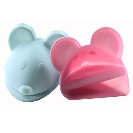 SET Topflappen Topfunterlage + Ofenhandschuh Silikon Maus rosa/blau Backblech – Bild 5