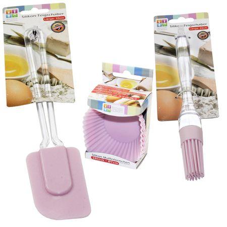 5tlg SET Teigschaber + Muffinförmchen + Pinsel Silikon rosa/blau Backen Küche  – Bild 3