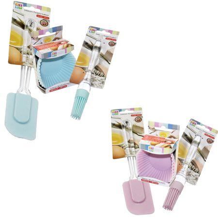 5tlg SET Teigschaber + Muffinförmchen + Pinsel Silikon rosa/blau Backen Küche  – Bild 1