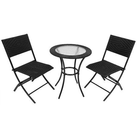 Balkonset TULA Stuhl Tisch Glasplatte Balkon Sitzgruppe schwarz Rattan Optik  – Bild 1