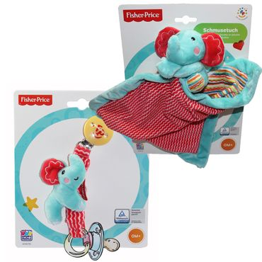 2er SET Happy People Fisher Price Schnullerband + Schmusetuch Elefant Baby Kette – Bild 1