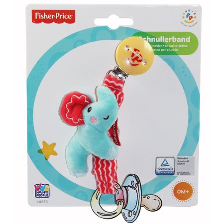 2er SET Happy People Fisher Price Schnullerband + Schmusetuch Elefant Baby Kette – Bild 2