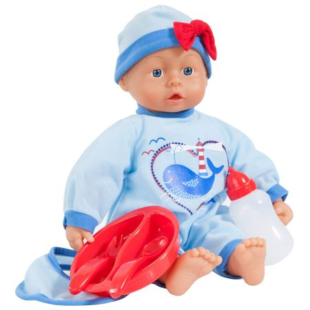 BAYER Baby Puppe 38cm I love you Funktionspuppe Babylaute 24 Sounds & Zubehör – Bild 1