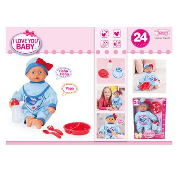 BAYER Baby Puppe 38cm I love you Funktionspuppe Babylaute 24 Sounds & Zubehör – Bild 2