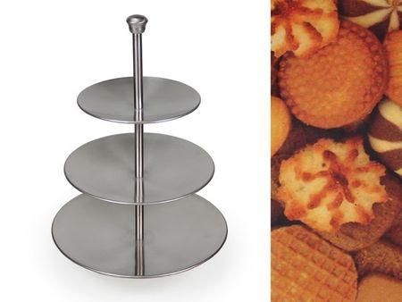 3 stöckige Etagere aus Metall matt Höhe 36,5cm Tischdekoration Kaffeetafel – Bild 2