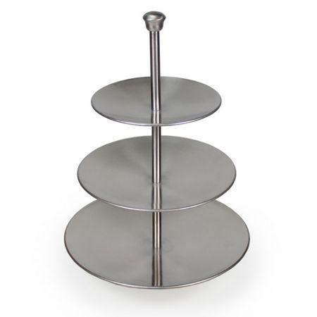3 stöckige Etagere aus Metall matt Höhe 36,5cm Tischdekoration Kaffeetafel – Bild 1