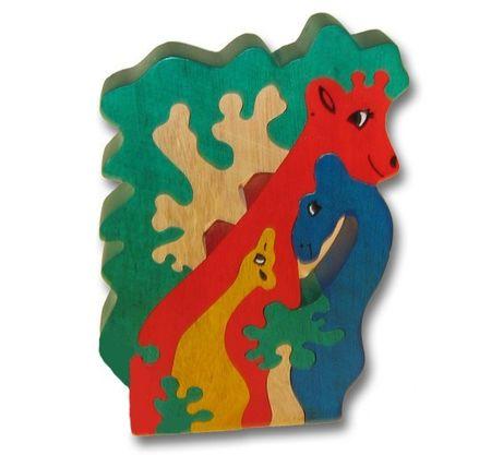 Woodbrix - 3D Holzpuzzle GIRAFFEN FAMILIE Kinderpuzzle Puzzle Holz Holzspielzeug