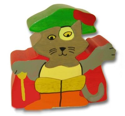 Woodbrix - 3D Holzpuzzle GESTIEFELTER KATER Kinderpuzzle Puzzle Holz Holzspielzeug