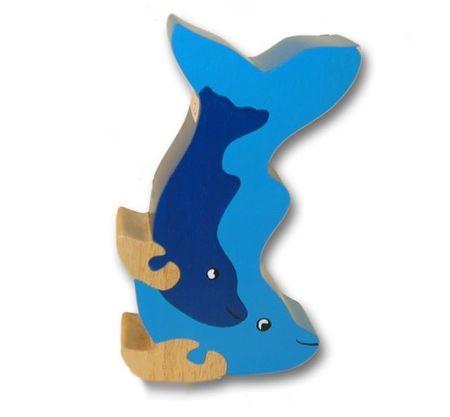 Woodbrix - 3D Holzpuzzle 3D Kleiner DELPHIN Kinderpuzzle Puzzle Holz Holzspielzeug