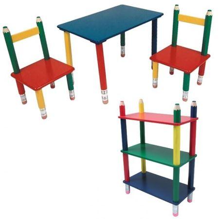 BLEISTIFT-SET Kindersitzgruppe inkl. Regal Holz Kind Maltisch Kindermöbel bunt – Bild 1
