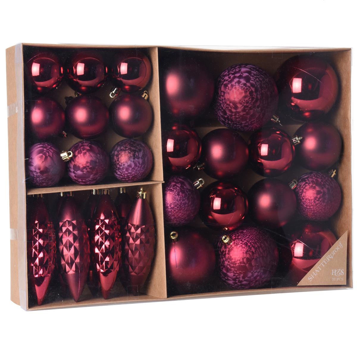 31 tlg set weihnachtskugeln baumschmuck weihnachtsbaum. Black Bedroom Furniture Sets. Home Design Ideas