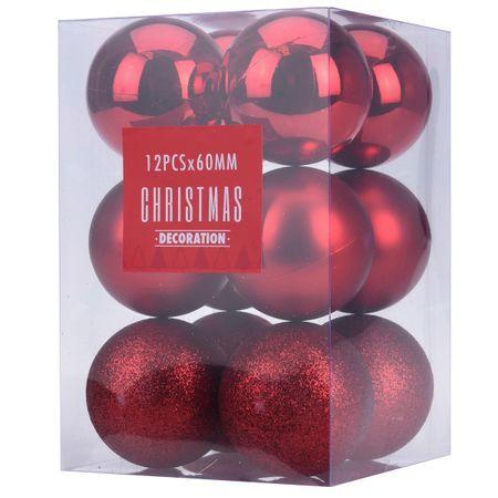 12 tlg. Set Weihnachtskugeln 6 cm rot und kupferfarben Weihnachten Tannenbaum – Bild 2
