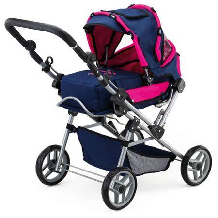 BAYER Design Kinder Kombi-Puppenwagen Trendsetter Puppenbuggy blau pink verstellbar