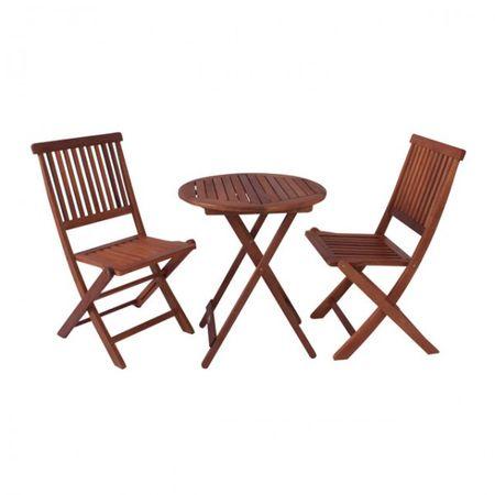 Tischgruppe aus Eukalyptus Holz Balkon Sitzgruppe Sitzgarnitur Gartenmöbel   – Bild 1