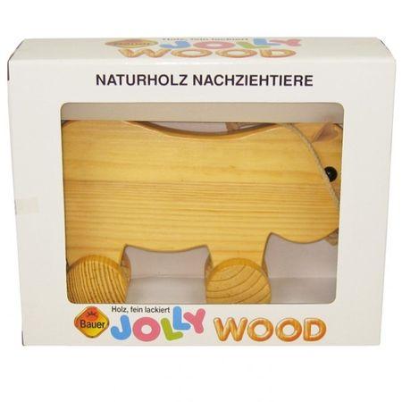 Bauer 62523 - Naturholz Nachziehtier SCHWEINCHEN 26cm Nachziehspielzeug