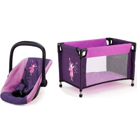 Bayer 2 tlg. Travel Set für Puppen, Autositz und Reisebett in lila Kinder Spiel
