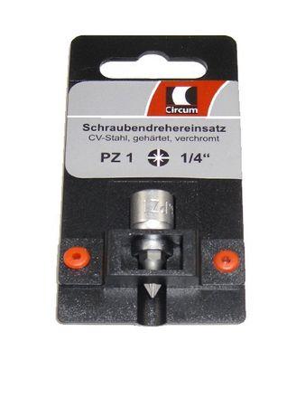 """Circum Schraubendreher- Einsatz SB 1/4"""" PZ1 kurz PZ 1 Markenware"""