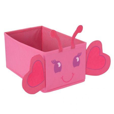 Spielzeugbox Mini Spielzeugkiste faltbar Aufbewahrungsbox Schmetterling pink