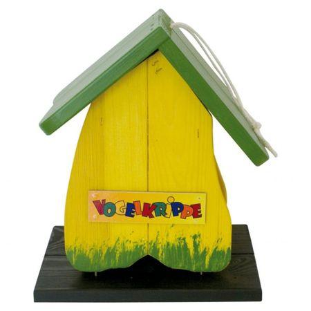 Vogelhaus Vogelkrippe Holz gelb grün Futterhaus Vögel Futterstelle