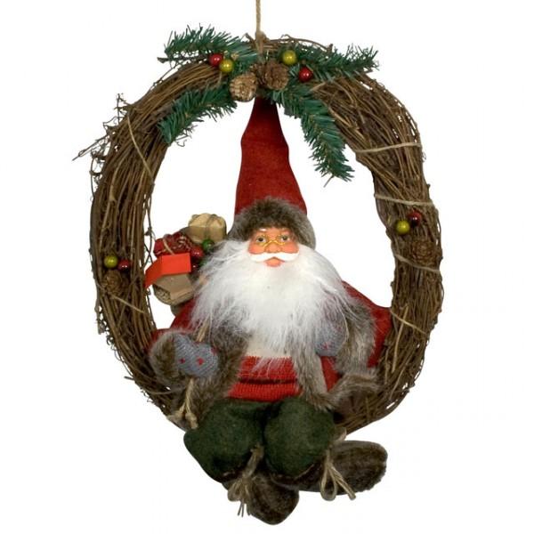 weihnachtsmann klaus 30 cm t rkranz weihnachten sitzend. Black Bedroom Furniture Sets. Home Design Ideas