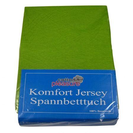 Jersey Spannbettlaken 180x200 hellgrün Spannbetttuch B-Ware – Bild 1