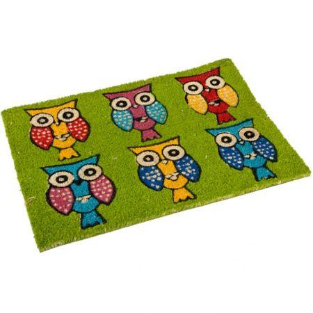 Fußmatte Kokos mit Eulenmotiv Fußabstreifer Türmatte rot blau grün orange Haustür Matte  – Bild 4