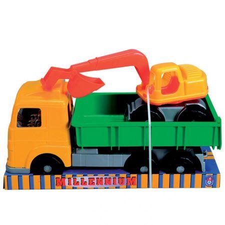 Millennium LKW mit Bagger 50 und 34 cm Spielzeug Auto Kipper Lastkatftwagen grün