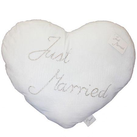 Plüsch-Herzkissen Just married weiß Heiratsantrag Hochzeit Deko Kissen Herzkissen Plüschkissen
