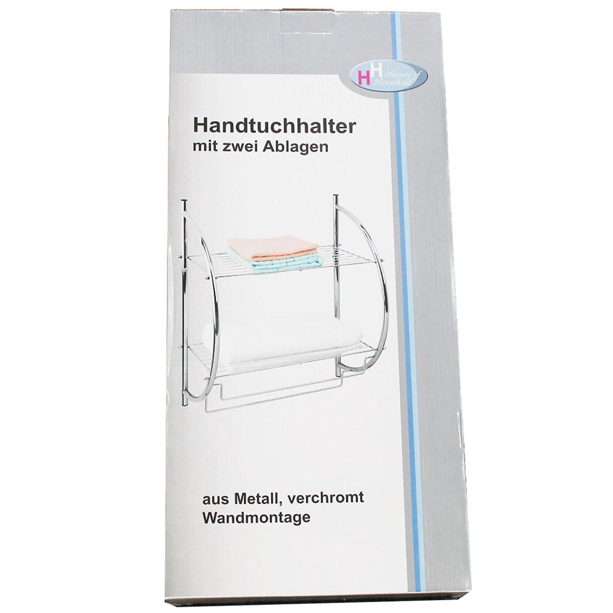 Handtuchhalter mit 2 Ablagen Wandregal Badregal Metallregal ...