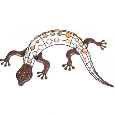 Gecko mit farbigen Dekorsteinen Wanddekoration für den Garten Gartendekoration