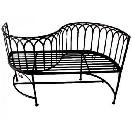 Gartenbank mit geschwungener Lehne Eisen rost Optik 2-Sitzer Bank Garten Gartenmöbel