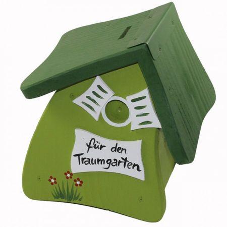 Vogelvilla Hausbank Spardose Vogelhaus Spardose Holz grün grau rot weiss Sparschwein  – Bild 6