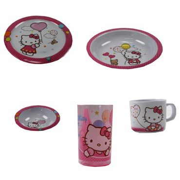 Kindergeschirr Set Melamingeschirr Geschirr Melamin Winnie Pooh Cars Hello Kitty Minnie Mouse  – Bild 3