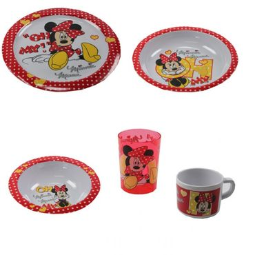 Kindergeschirr Set Melamingeschirr Geschirr Melamin Winnie Pooh Cars Hello Kitty Minnie Mouse  – Bild 1