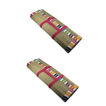 Faltbare Bast PINK 2er Set Strandmatte 190x60cm Kopfkissen Badematte Bastmatte